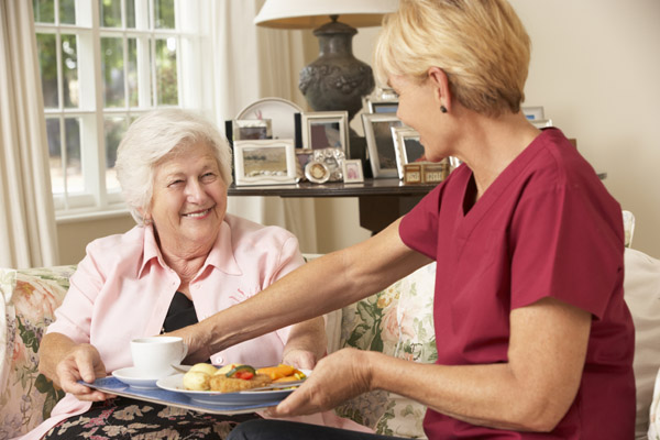 Older woman getting a meal from a carer in North Yorkshire.
