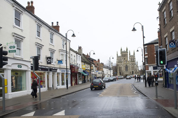 Businesses on the high street in Selby, North Yorkshire.