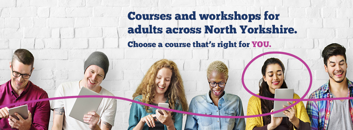 Adults looking at adult learning courses in North Yorkshire.