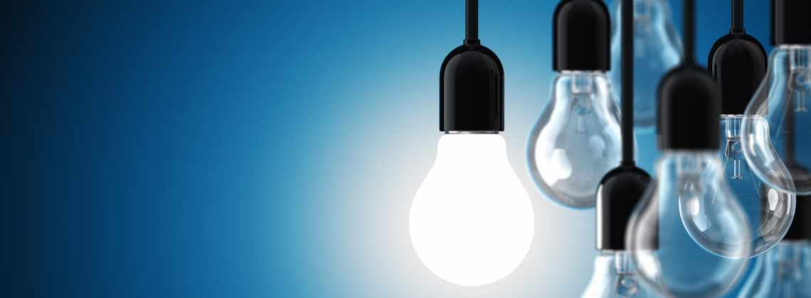 Lightbulbs glowing with bright ideas