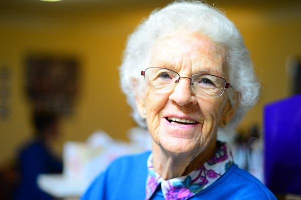 Elderly lady in a care home in North Yorkshire.