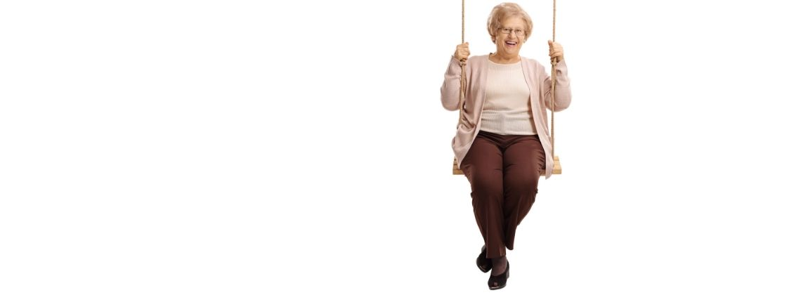 old lady on swing