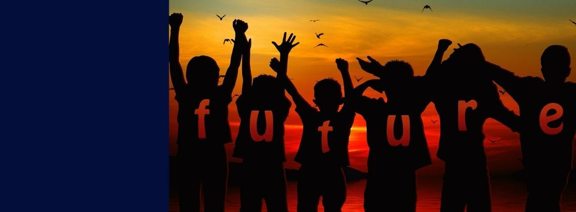 sunset with children and the word future as text