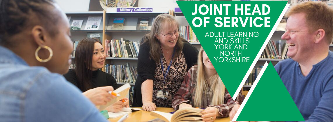 Adult learners in a library