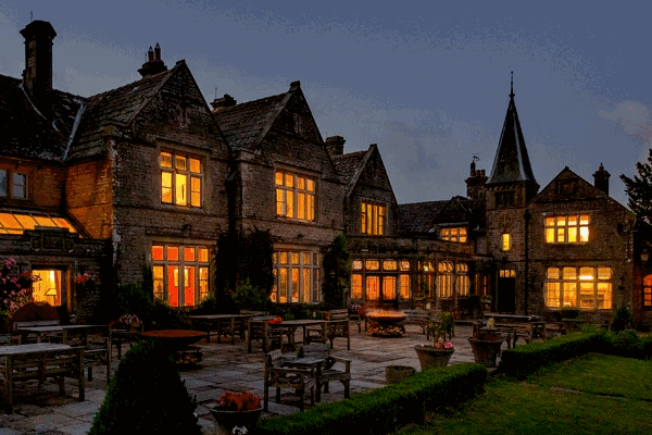 Simonstone Hall at night exterior