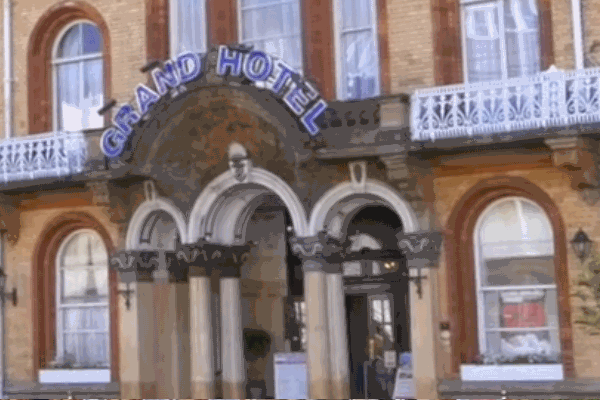 Main door of Grand Hotel in Scarborough