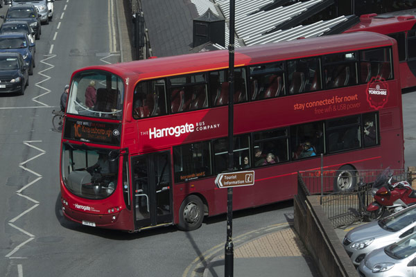 Bus priority in Harrogate which could be used to ease congestion.