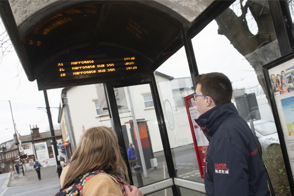 Real time information screen at bus stop in Harrogate