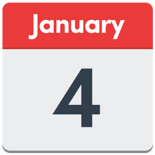 Calendar showing 4 January