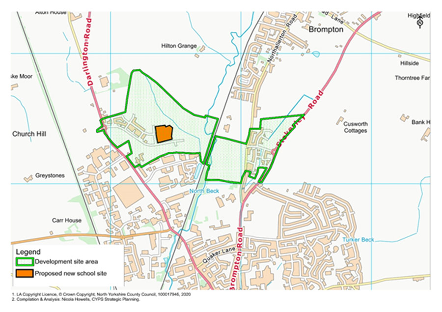 A map showing the location of the proposed new school in Northallerton