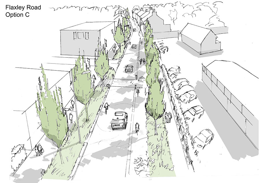 Flaxley Road option C sketch