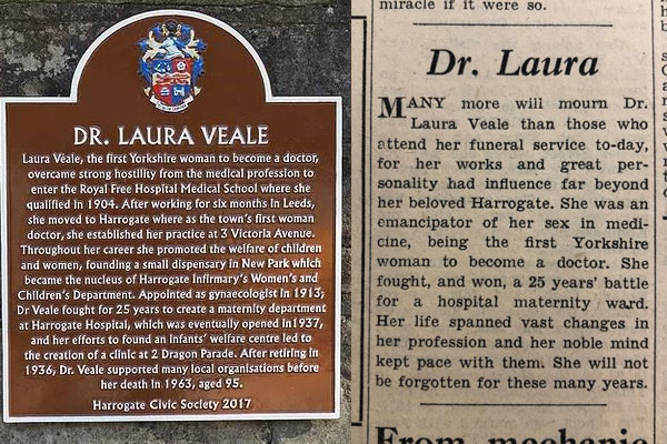 Dr Laura plaque and obituary