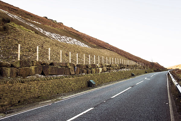 A59 at Kex Gill following drainage improvements in 2016.