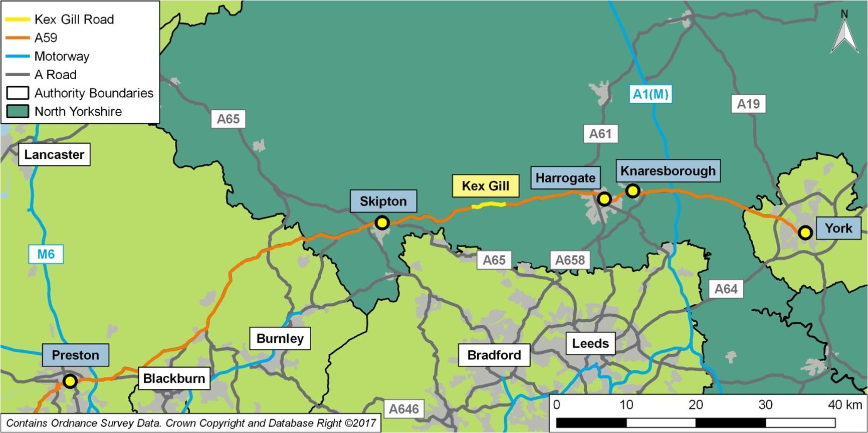 Map Of England Showing Yorkshire.A59 Kex Gill Re Alignment North Yorkshire County Council
