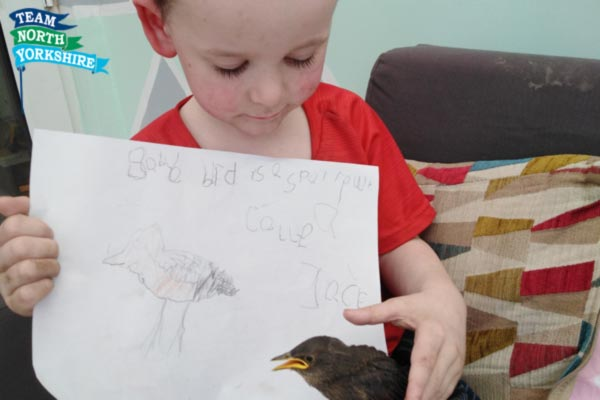 A little animal lover has nurtured his caring nature during lockdown – by raising a baby starling by hand.