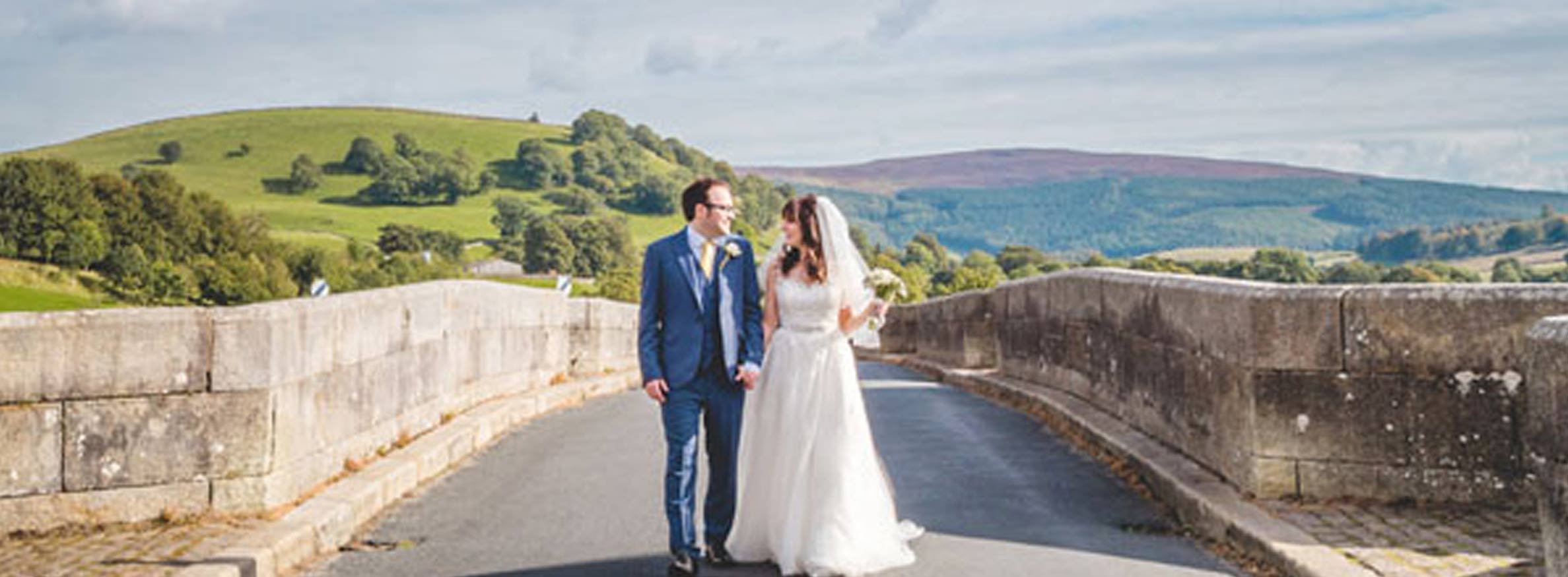 Couple married on a bridge in North Yorkshire