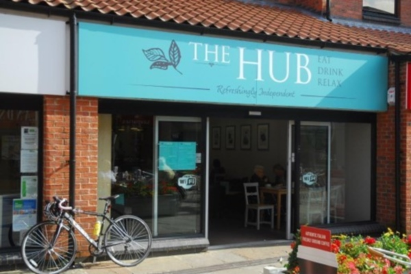 Photograph of exterior of The Hub Cafe in Selby