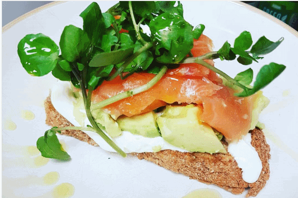 Photograph of salmon toast served at the Central Coffee House