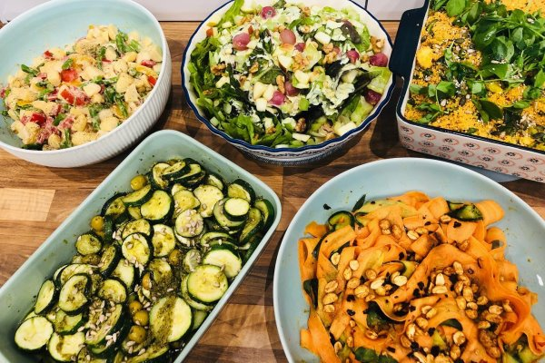 Photograph of a range of salads served at Native Heath Deli