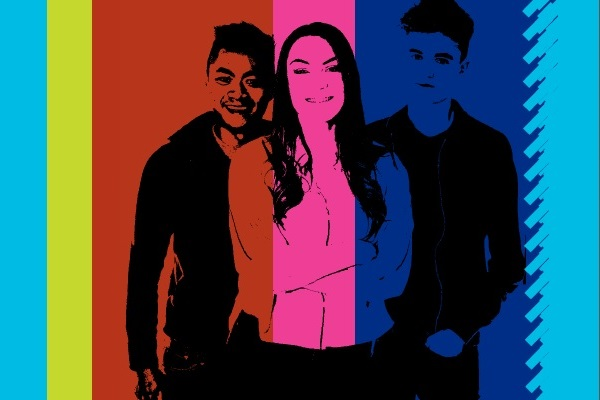 Three young people against multi coloured background representing care leavers in North Yorkshire.
