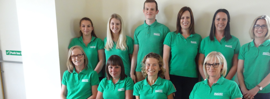 The North Yorkshire County Council Healthy Choices team. Ten people in green polo shirts.