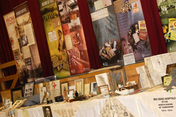 Banners and exhibits from the Home Comforts project by the North Yorkshire County Record Office.