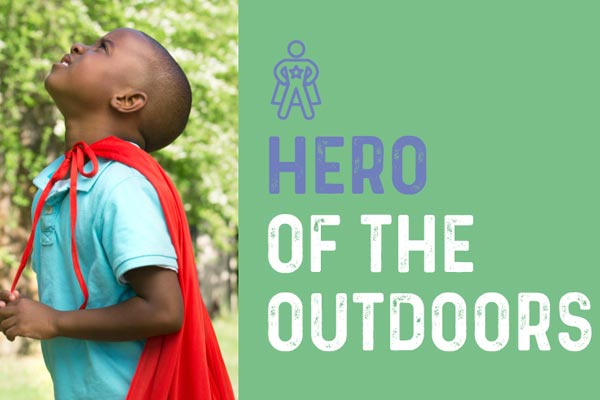 Young boy playing Hero of the Outdoors on the Scarborough Trails