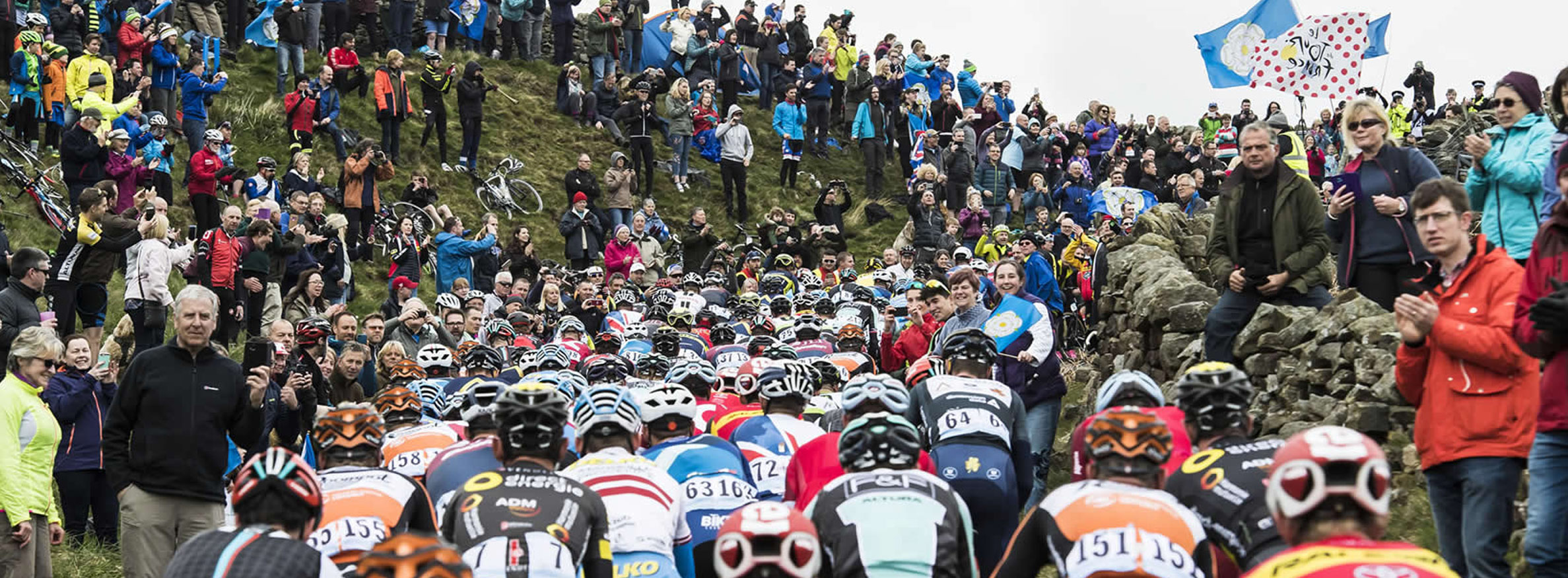 Cyclists in The Tour de Yorkshire in North Yorkshire