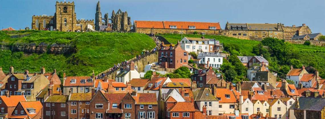 Whitby abbey and steps