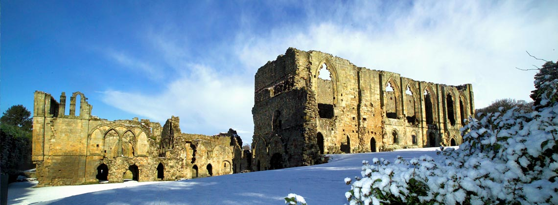 Easby Abbey on the edge of Richmond in the snow