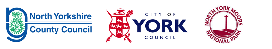 Badges of North Yorkshire County Council, City of York Council and North York Moors National Park