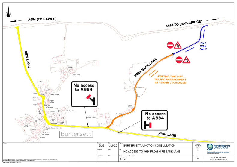 A map showing the proposed changes to Burtersett (Mire Bank Lane) and A684 junction
