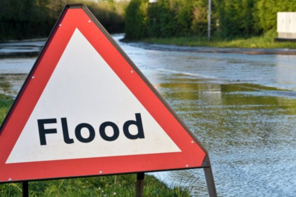 A flood sign in North Yorkshire