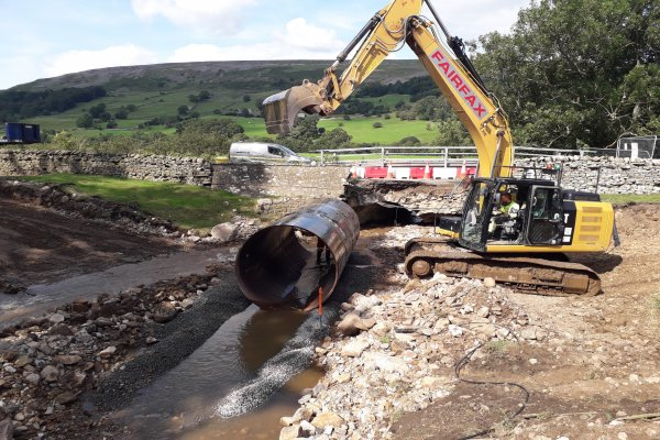 A pipe is delivered to the B6270