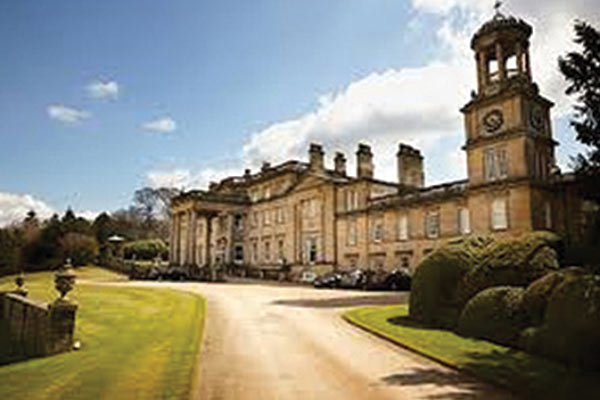 The outside of wedding venue Broughton Hall Estate