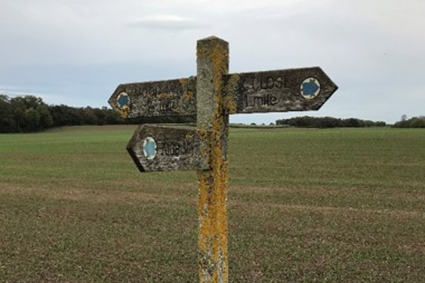 A public right of way sign in North Yorkshire.
