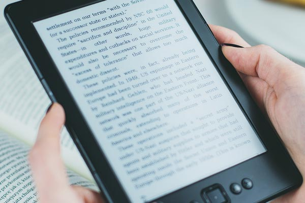 Person using an e-book reader