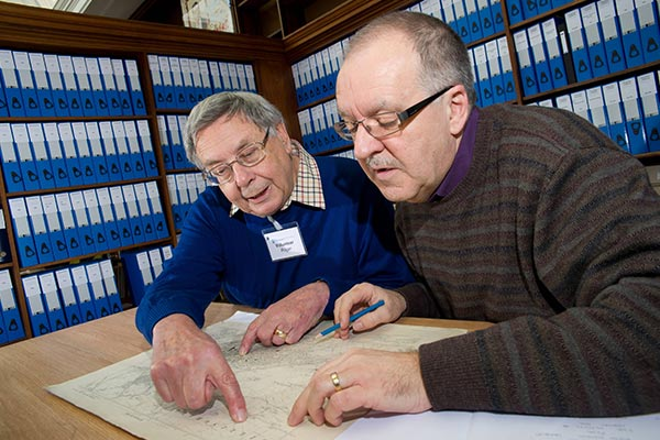 People researching information in local library collections in North Yorkshire