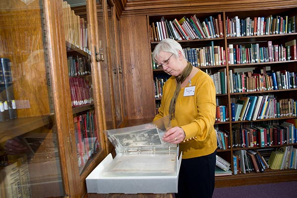 A lady does research in local library collections in North Yorkshire