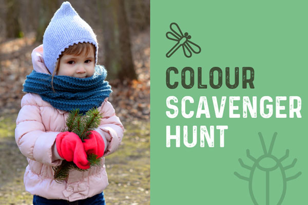 Child playing colour scavenger hunt on Scarborough Trails