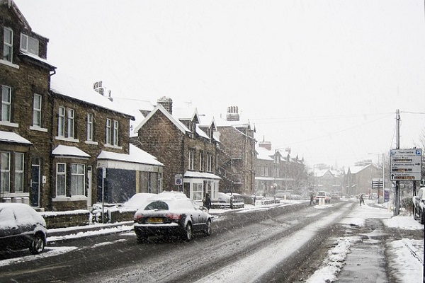 Snowy conditions on a road in Harrogate.
