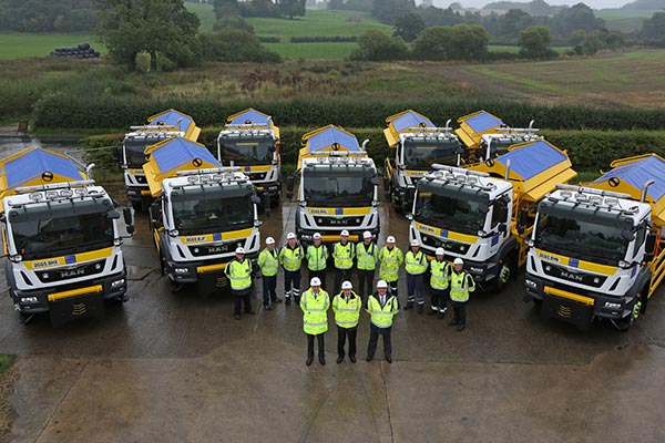 New gritters lined up in the depot