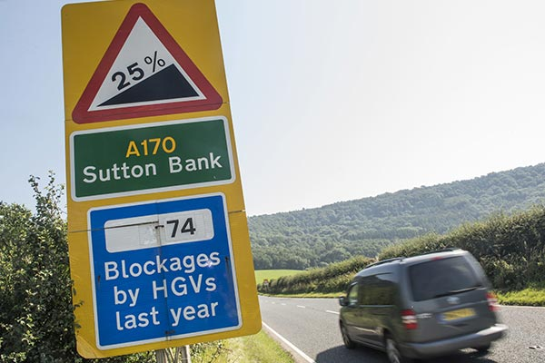 A170 at Sutton Bank where HGV's sometimes cause obstructions or blockages due to it's steep gradient