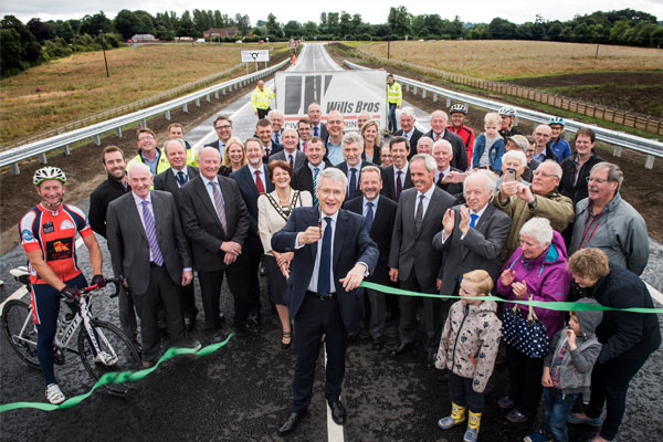 The A684 Bedale, Aiskew and Leeming Bar bypass is reopened by transport minister Andrew Jones MP
