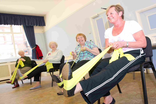 Older people in exercise class in North Yorkshire.