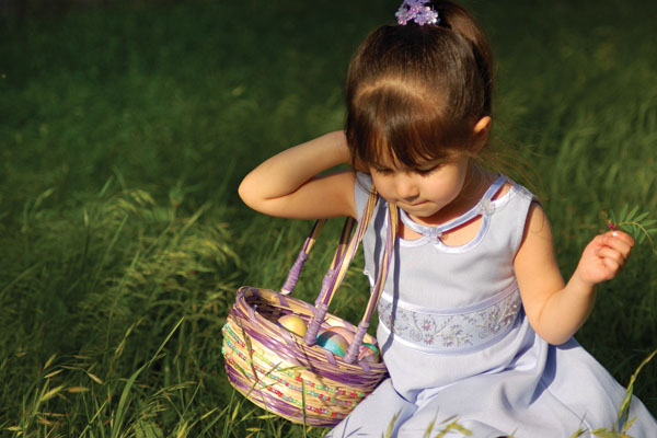 Young girl with a basket outside in North Yorkshire.