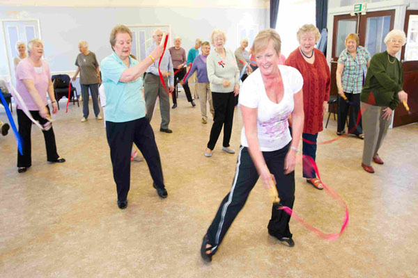 Group of older people in an exercise class in North Yorkshire.
