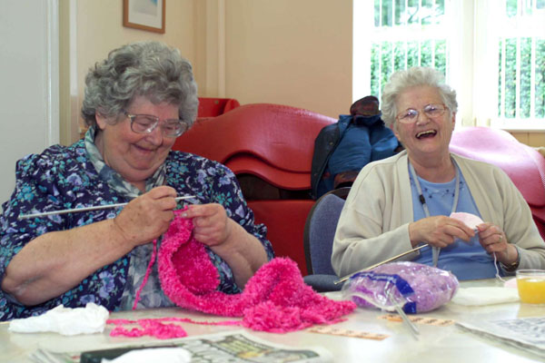Two women knitting at a care home in North Yorkshire.