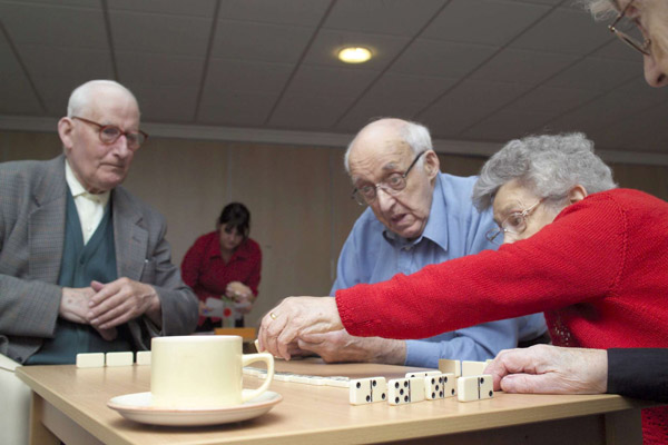Older people playing a game in care home in North Yorkshire.