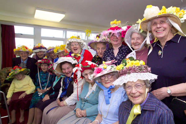 Group of older women wearing hats in North Yorkshire.